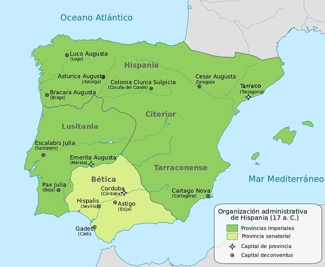 Extensión aproximada de las provincias de Hispania en el año 17 a.C. tras el final de las guerras cántabras contra Roma