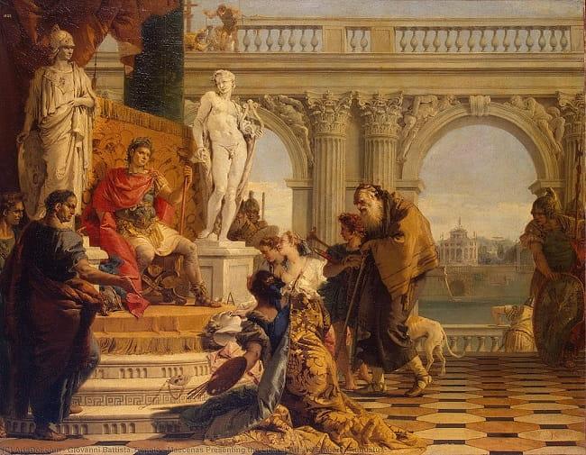 Mecenas presentando las artes liberales a Augusto, obra de Giovanni Battista Tiepolo hecha a mediados del siglo XVIII