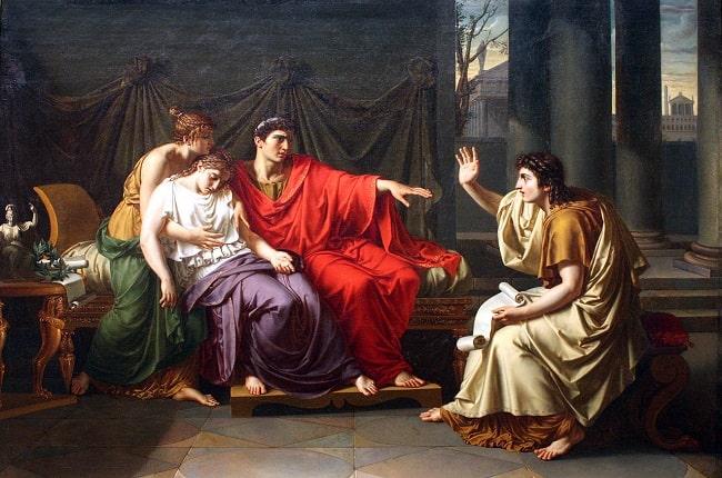Virgilio leyendo la Eneida a Augusto, Octavia y Livia, obra hecha por Jean-Baptiste Wicar en el siglo XIX