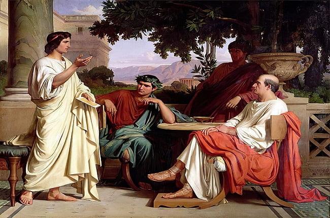 Horacio, Virgilio y Vario en casa de Mecenas