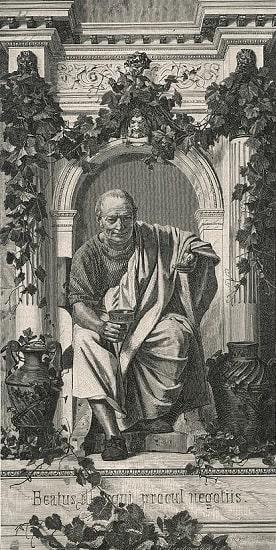 Ilustración hecha a principios del siglo XX por Anton von Werner en la que se imagina a Quinto Horacio Flaco