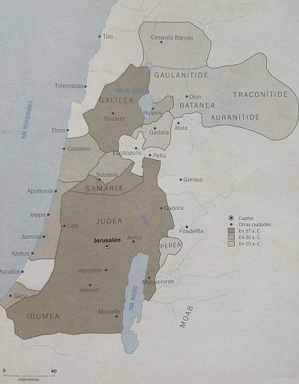 Mapa del reino de Herodes el Grande en el que se ven sus principales ciudades y su evolución territorial a lo largo del tiempo