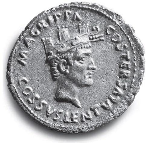 Moneda romana de plata en la que se representa a Marco Agripa
