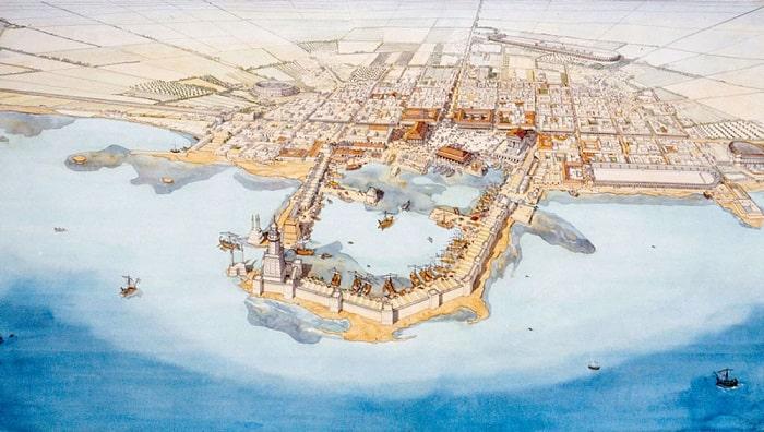 Reconstrucción digital del aspecto de la ciudad de Cesarea Marítima