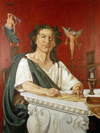 Retrato imaginario de Quinto Horacio Flaco hecho por Giacomo Di Chirico en el siglo XIX
