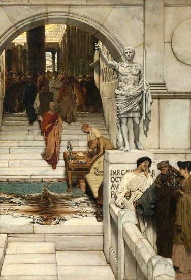Una audiencia con Agripa, obra hecha por Lawrence Alma Tadema en el siglo XIX