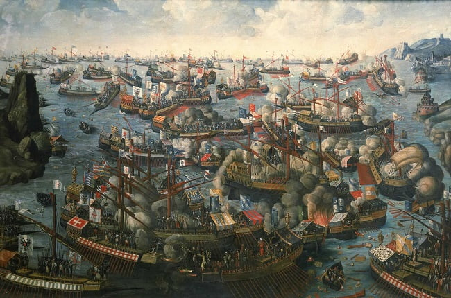 Obra de autor anónimo creada a finales del siglo XVI que recrea el enfrentamiento mostrado en Lepanto. La mar roja de sangre