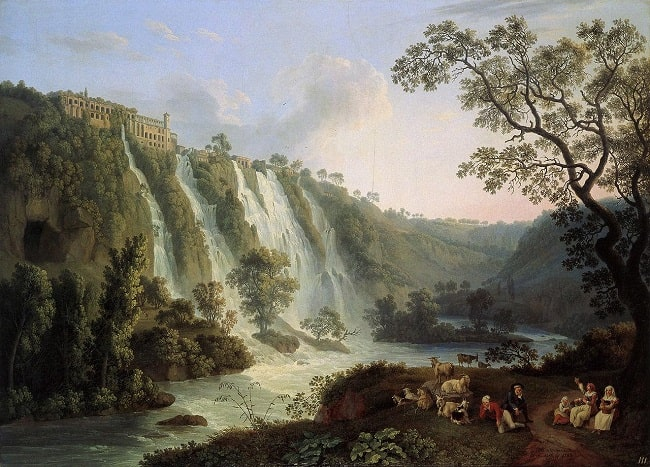 Villa de Mecenas con las cascadas en Tívoli, obra de Jacob Philipp Hackert hecha en 1783